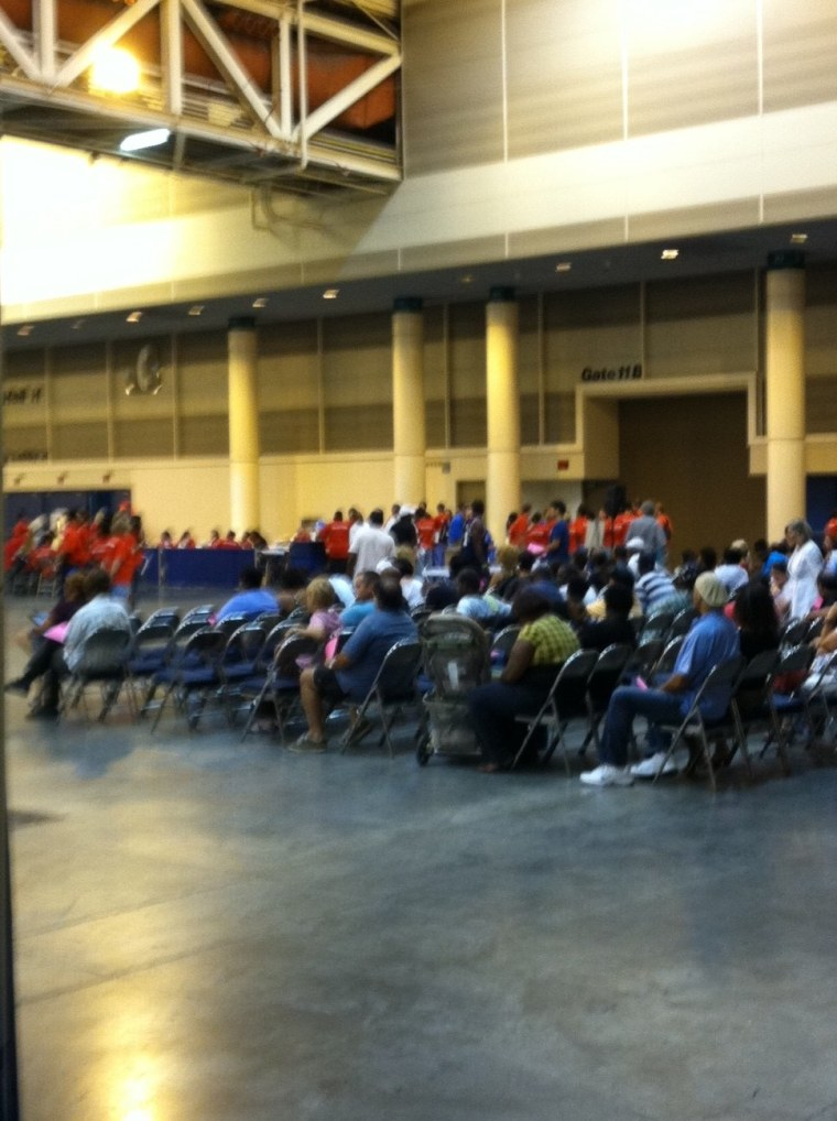 Patients waiting for today's free health clinic in New Orleans