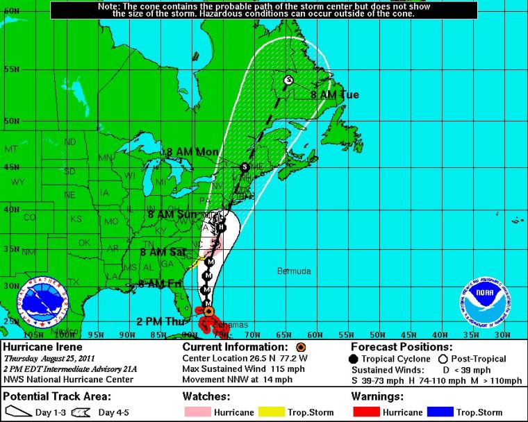 Hurricane Irene 5 day track