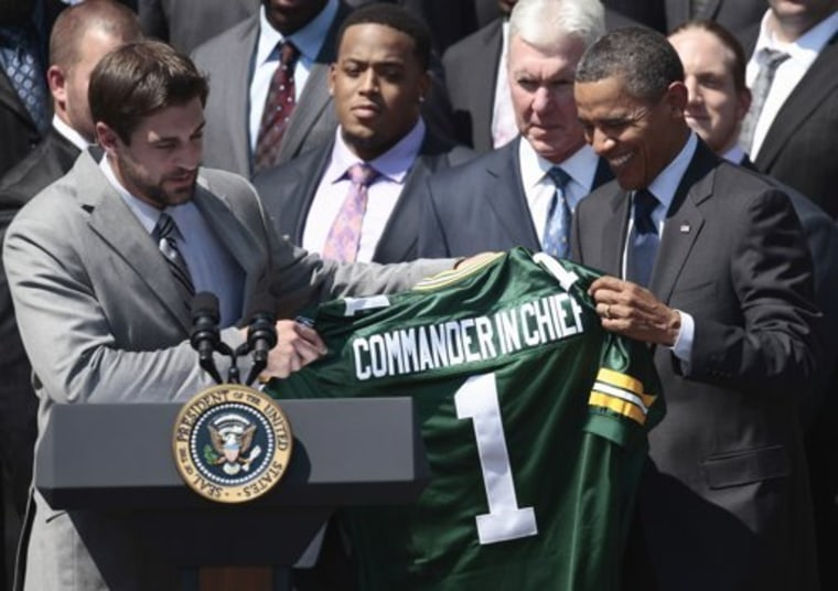 Green Bay Packer Union Rep Aaron Rodgers meets with the President in the Rose Garden.