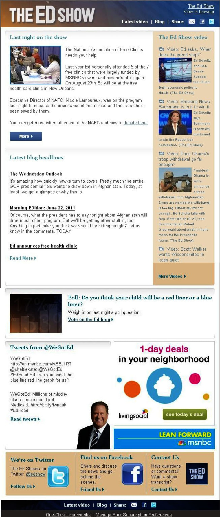 New Ed Show email newsletters