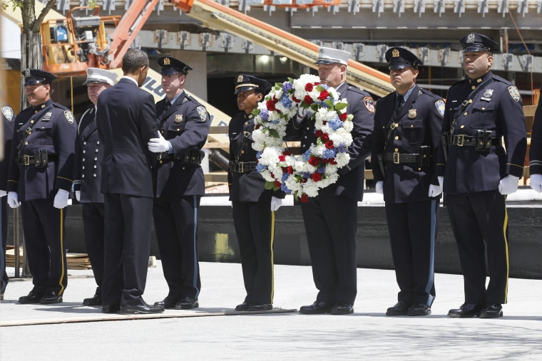 President Barack Obama arrives to lay a wreath at the National Sept. 11 Memorial at Ground Zero in New York.