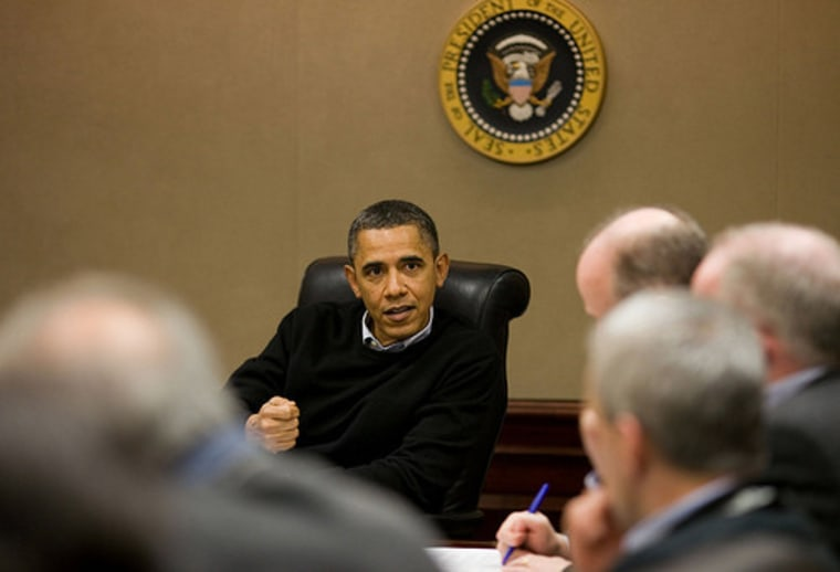President Barack Obama is briefed on the events in Egypt during a meeting with his national security team in the Situation Room of the White House, Saturday, Jan. 29, 2011.
