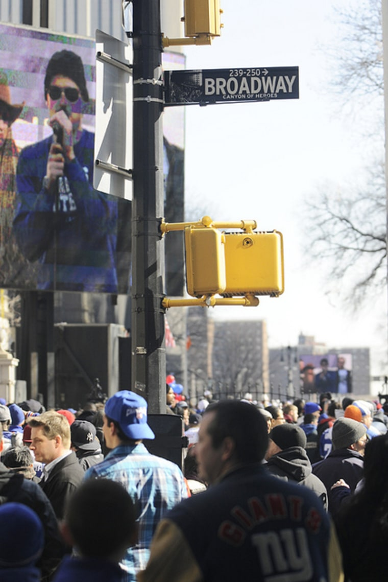 New York Giants fans lined the 'Canyon of Heroes' on Feb. 7 in Manhattan to celebrate the team's fourth Super Bowl win.