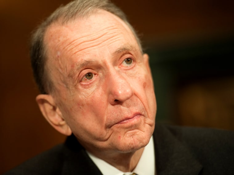 """Former Sen. Arlen Specter prepares to testify at a Senate Judiciary Administrative Oversight and the Courts Subcommittee hearing on """"Access to the Court: Televising the Supreme Court."""""""