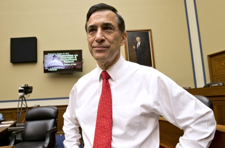 House Oversight Committee Chairman Rep. Darrell Issa, R-Calif., arrives on Capitol Hill on Oct. 10 for a hearing on the attack on the American consulate in Benghazi, Libya, that resulted in the death of U.S. Ambassador Christopher Stevens.
