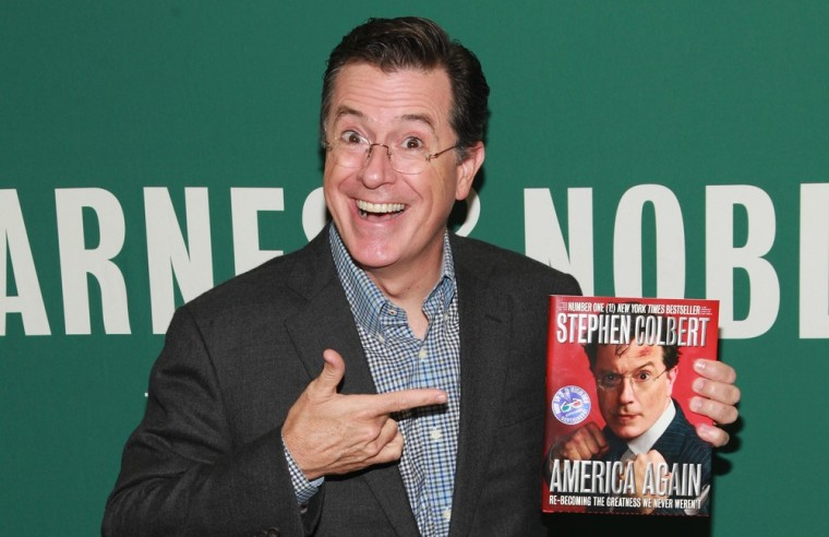 "TV personality Stephen Colbert promotes ""America Again: Re-becoming The Greatness We Never Weren't"" at Barnes & Noble Union Square on October 2, 2012 in New York City."