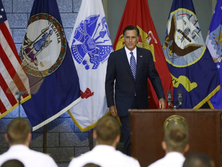 Republican presidential candidate, former Massachusetts Gov. Mitt Romney \arrives to deliver a foreign policy speech at Virginia Military Institute in Lexington, Va., Monday, Oct. 8, 2012.