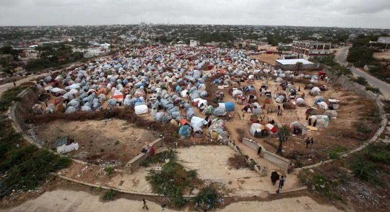 An aerial view shows Seyidka settlement for the famine stricken, internally displaced people in Berkulan near Somalia's capital Mogadishu, September 6, 2011.