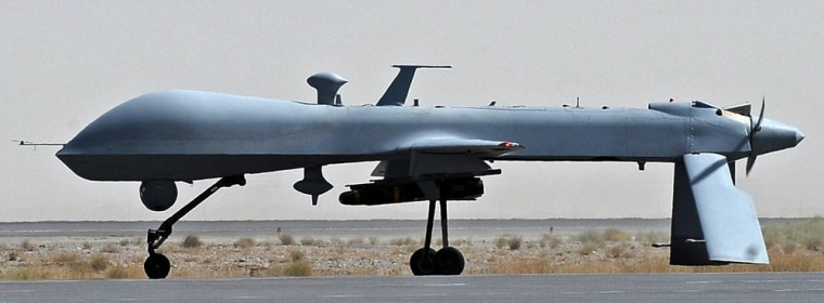 In this file picture taken on on June 13, 2010, a US Predator unmanned drone armed with a missile stands on the tarmac of Kandahar military airport in Afghanistan.