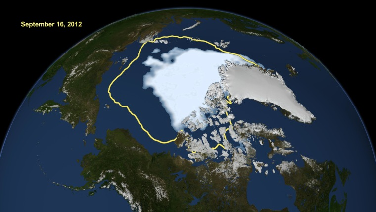 NASA satellite data compares the average minimum extent to which the Arctic sea ice has shrunk over the past 30 years (in yellow) to where the ice had retreated to by September 16, 2012.