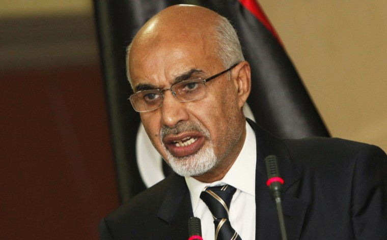 Head of the national Libyan assembly Mohammed Magarief attends a news conference in Tripoli September 12, 2012.