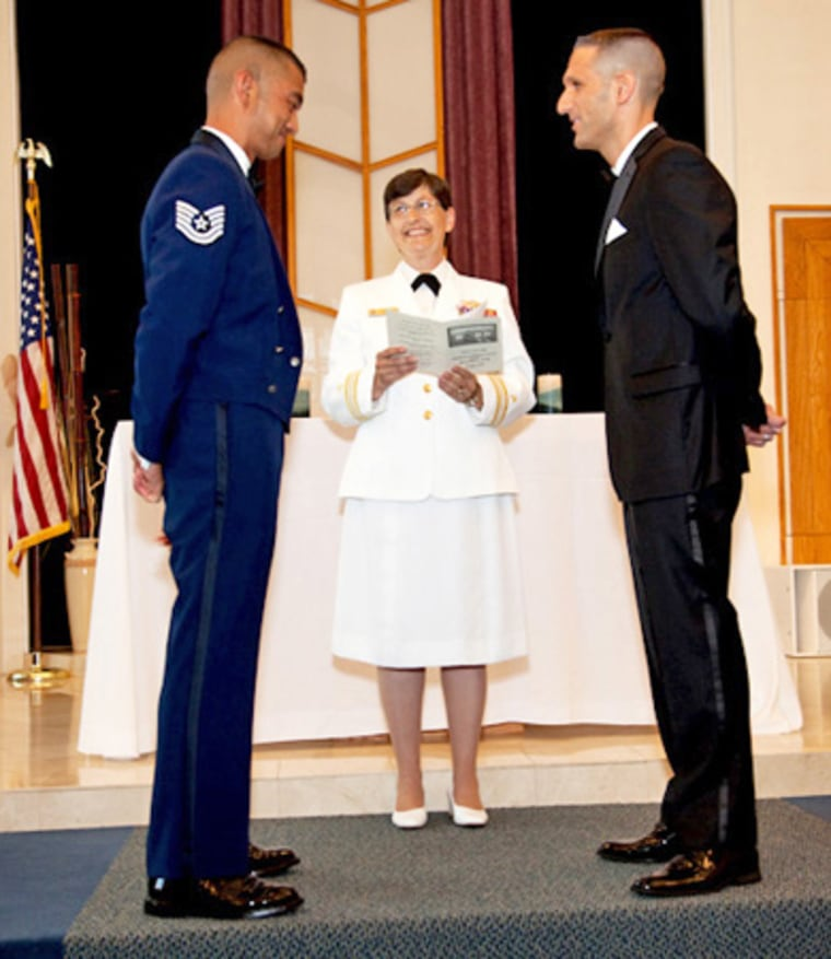 Tech. Sgt. Erwynn Umali, left, and Will Behrens are married at the McGuire-Lakehurst-Dix Joint Base in New Jersey on June 23.