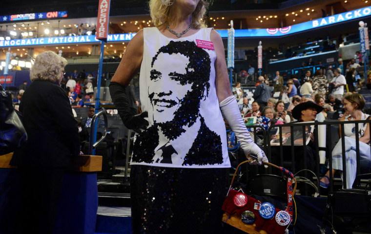 Kelly Jacobs from Mississippi wears a shirt depicting President Barack Obama at the Democratic National Convention in Charlotte, North Carolina, Sept. 4.