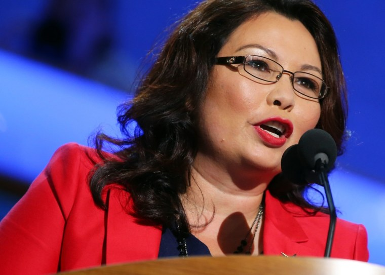 Tammy Duckworth speaks during day one of the Democratic National Convention, September 4, in Charlotte, N.C.