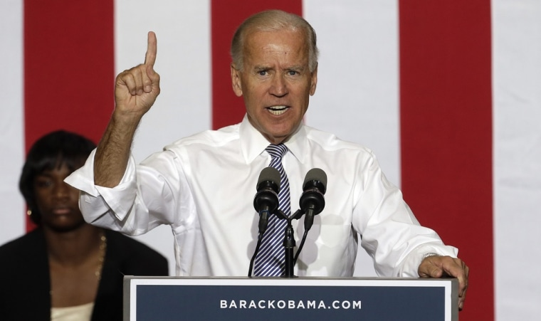 Vice President Joe Biden speaks during a campaign stop at Renaissance High School, Wednesday, Aug. 22, 2012, in Detroit.