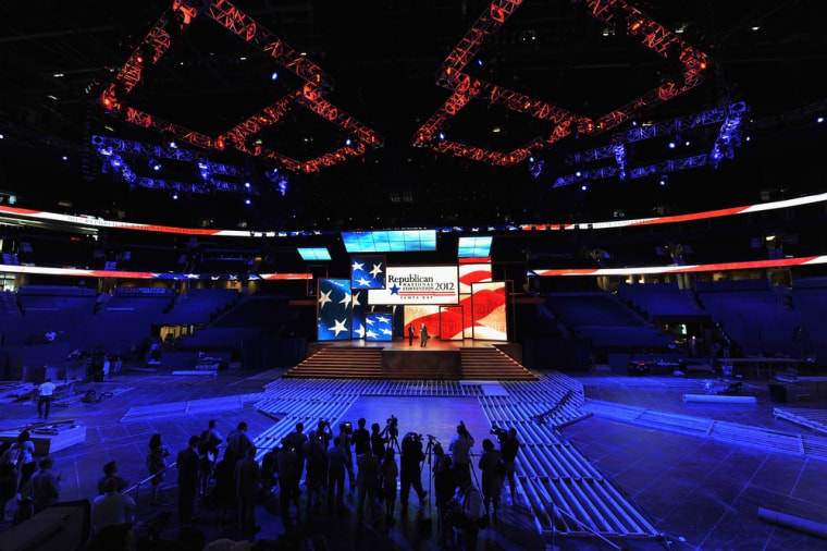 News media report on the unveiling of  the stage inside of the Tampa Bay Times Forum in preparation for the Republican National Convention.