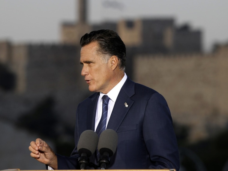 Republican presidential candidate Mitt Romney delivers a specch in Jerusalem July 29.