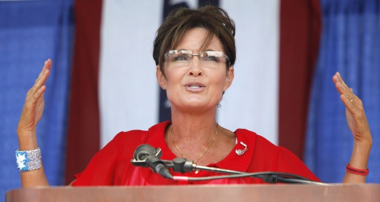 "BELLEVILLE, MI, - JULY 14: Sarah Palin, former Governor of Alaska and 2008 Republican Vice Presidential candidate speaks at a ""Patriots in the Park"" Tea Party."
