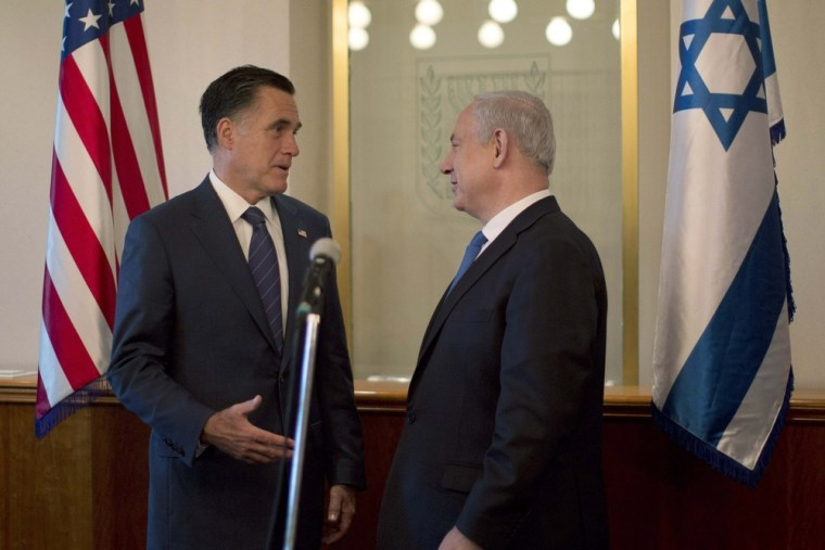 U.S. Republican presidential candidate Mitt Romney meets Israel's Prime Minister Benjamin Netanyahu in Jerusalem, Sunday.