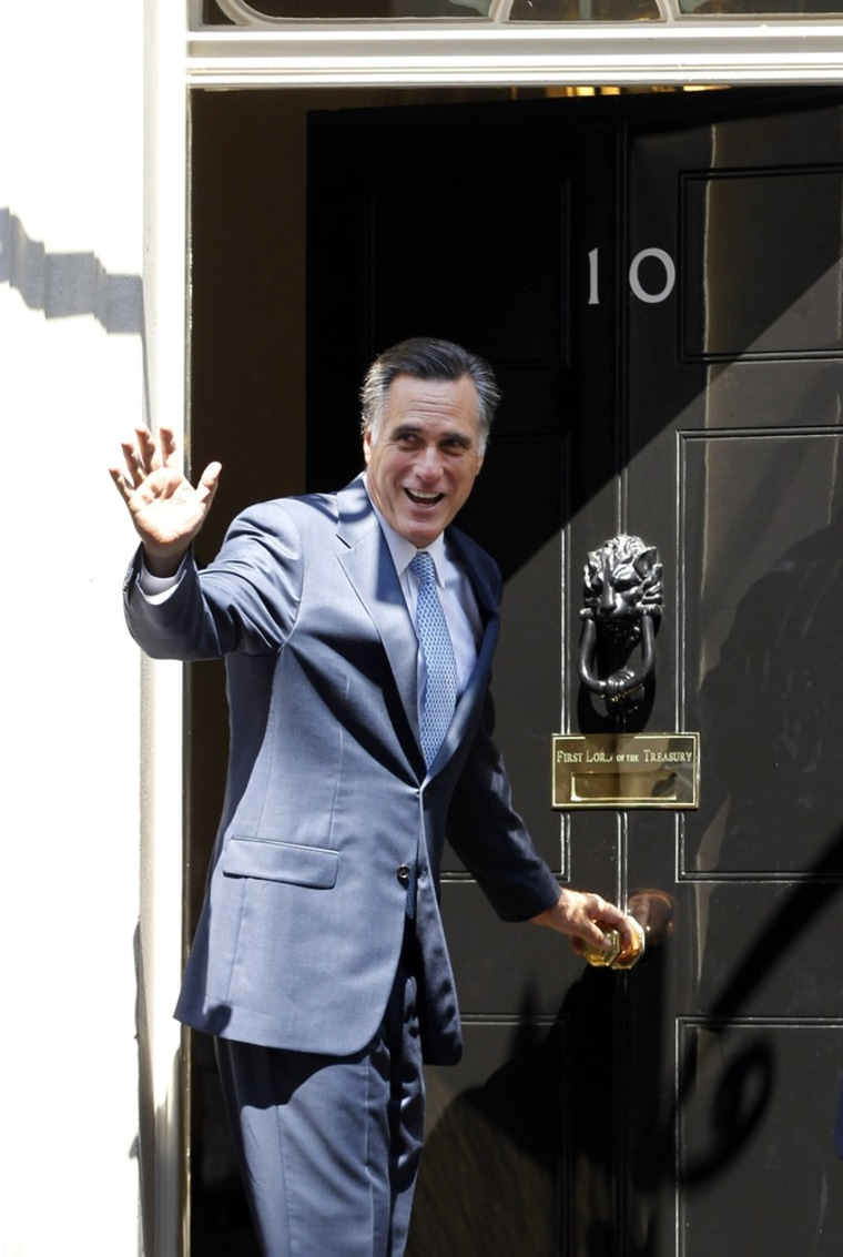 Republican presidential candidate Mitt Romney arrives at 10 Downing Street to meet with British Prime Minister David Cameron in London, July 26.