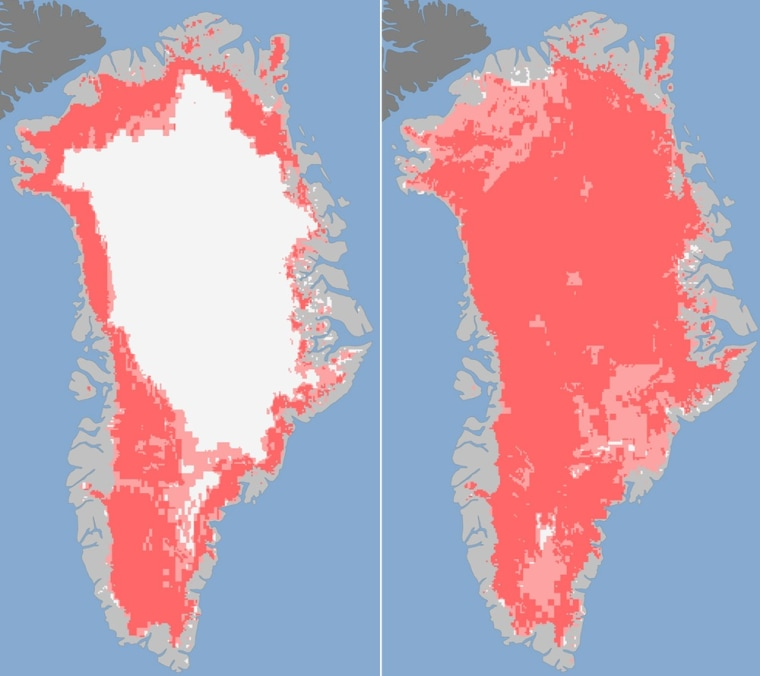 NASA satellite images showed the extent of surface melt on Greenland's ice sheet on July 8 (L) and July 12 (R). Measurements showed that on July 8 about 40% of the ice sheet had undergone thawing at or near the surface. By July 12, an estimated 97% of...