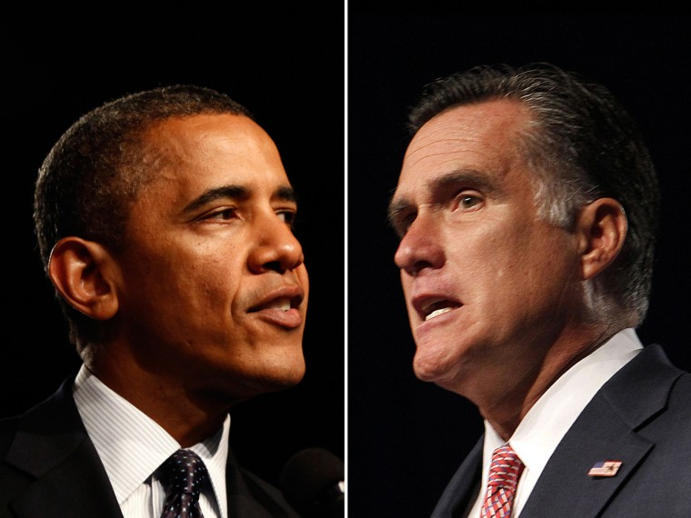 A composite image of President Barack Obama, left, and Republican presidential candidate Mitt Romney. Photos taken July 24, 2012.