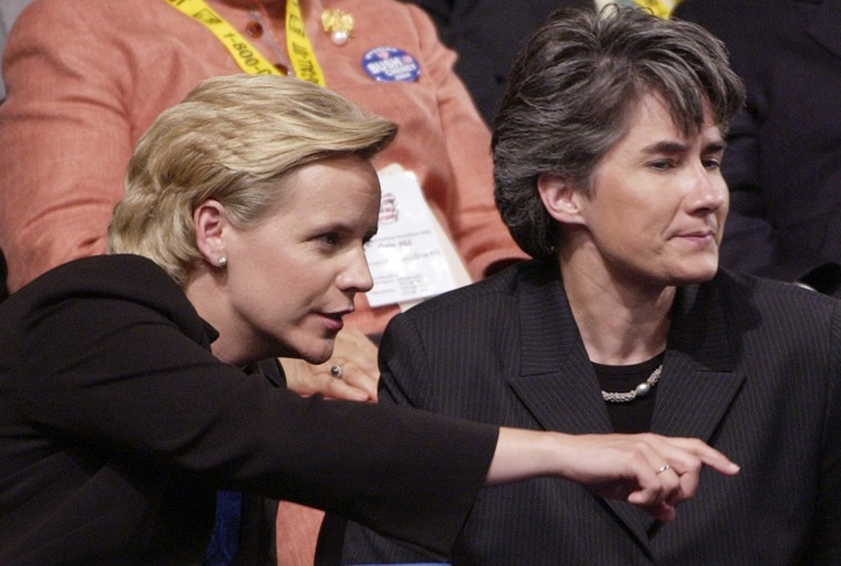 Mary Cheney, left, daughter of former Vice President Dick Cheney, with her partner, Heather Poe, at the Republican National Convention in New York in September 2004.