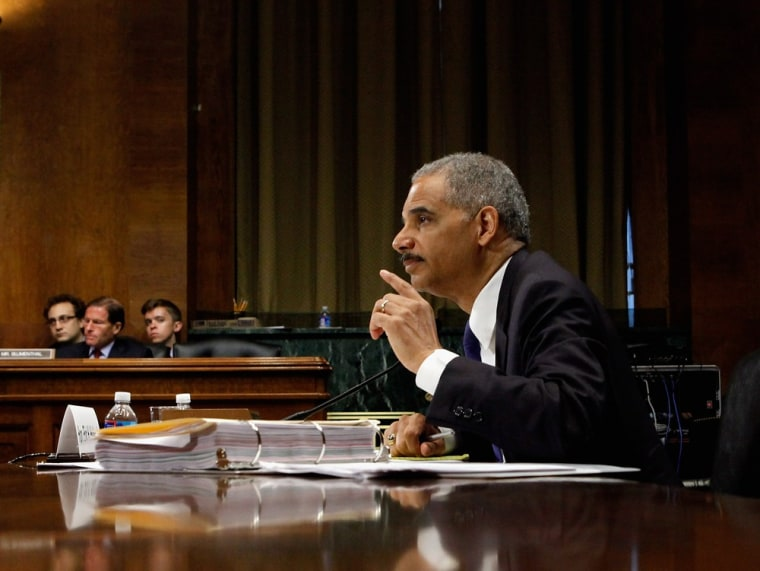 Attorney General Eric Holder testifies before the Senate Judiciary Committee earlier this month about the Fast and Furious investigation.