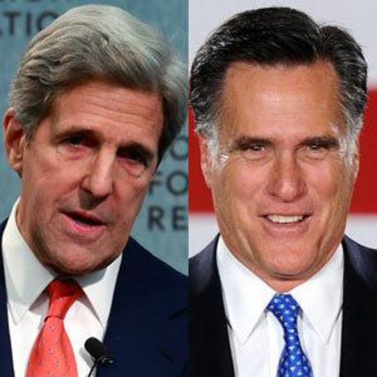 Sen. John Kerry (file) and Mitt Romney (file)