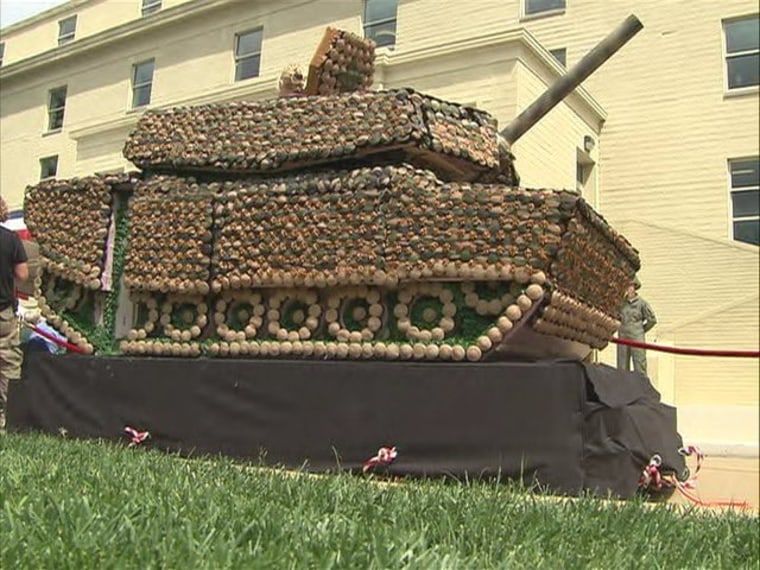 This tank made of cupcakes weighs 2,500 lbs.