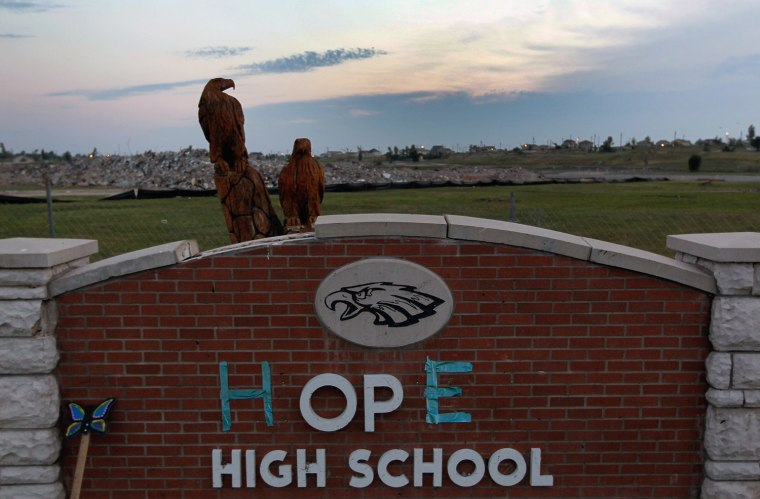 Joplin High School was destroyed in a tornado a year ago Tuesday that claimed 161 residents. President Barack Obama gave the keynote address to the 428 graduating seniors on Monday night.