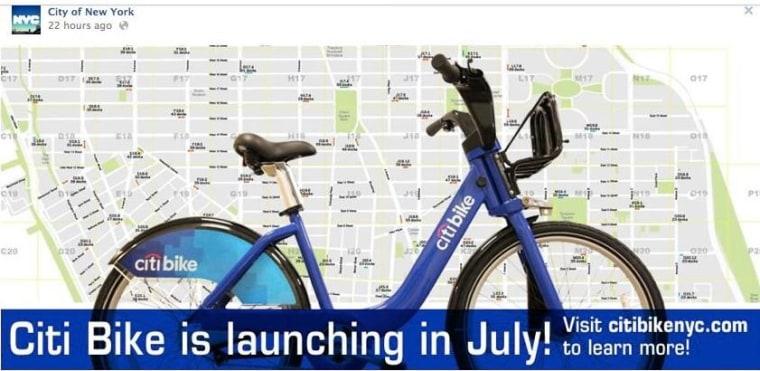 New York City's Facebook page announces the city's new bike-sharing program, Citi Bike.