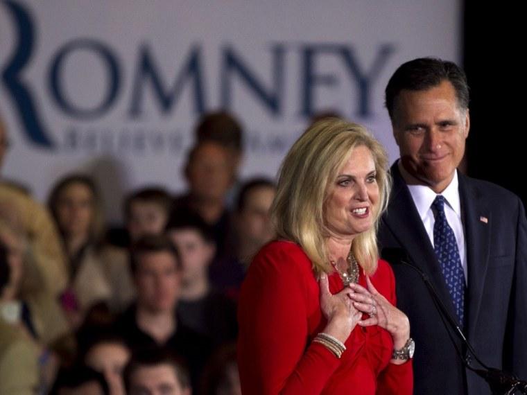 Ann Romney, front left, wife of Republican presidential candidate, former Massachusetts Gov. Mitt Romney.  (AP Photo/Steven Senne)