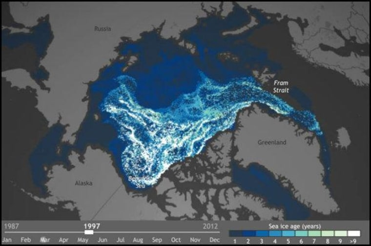 Arctic sea ice getting thinner, younger