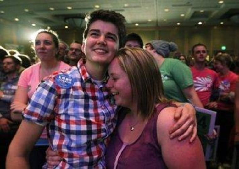 Whitney Young, left, embraces her partner Marlena Blonsky at an election watch party in Seattle on Tuesday for proponents of Referendum 74, which upheld Washington's new same-sex marriage law.