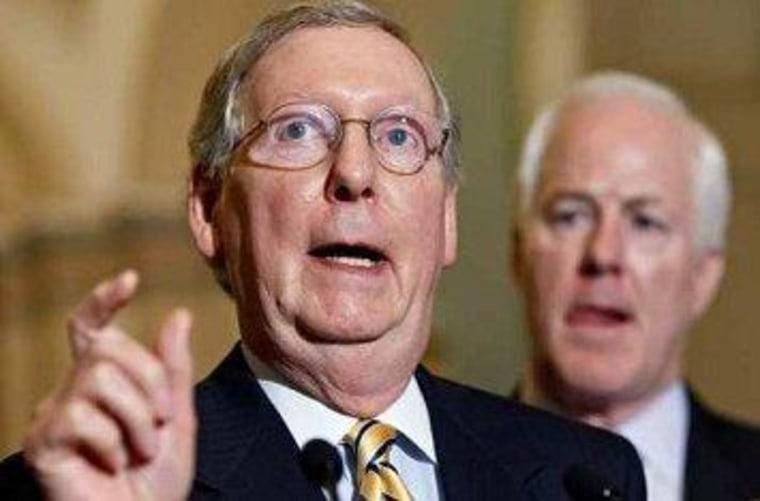 Senate Minority Leader Mitch McConnell and National Republican Senatorial Committee Chairman John Cornyn