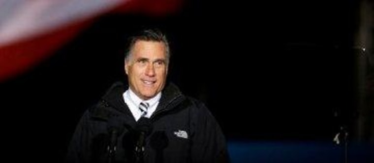 A cold night in Pennsylvania for Romney and his teleprompter.