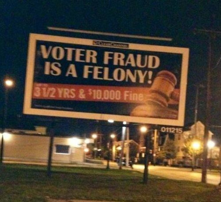 Seen in Ohio: Scary billboard about voter fraud in poor neighborhood