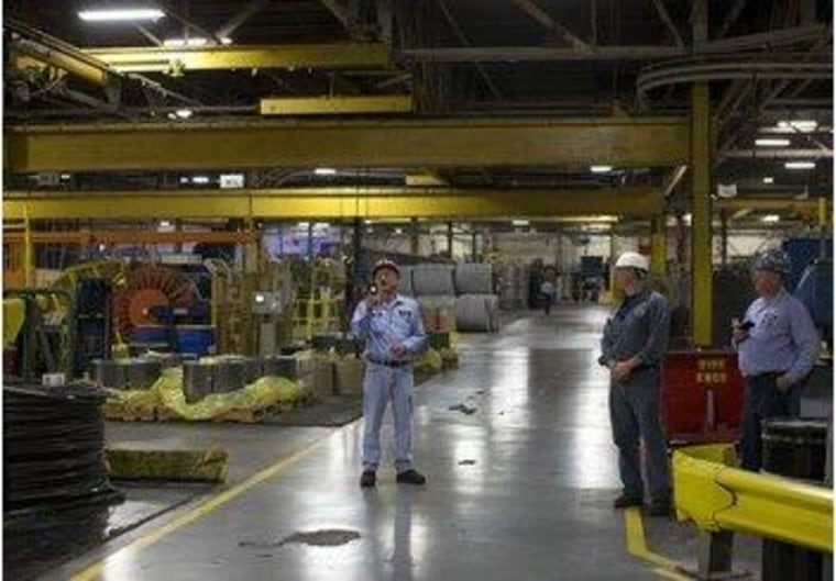 The factory floor at American Spring Wire in Bedford Heights, Ohio.