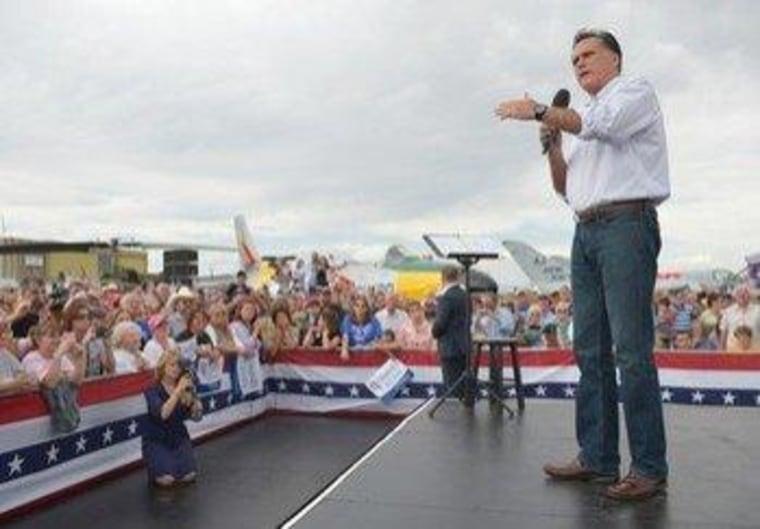 Mitt Romney in Pueblo, Colorado, yesterday.