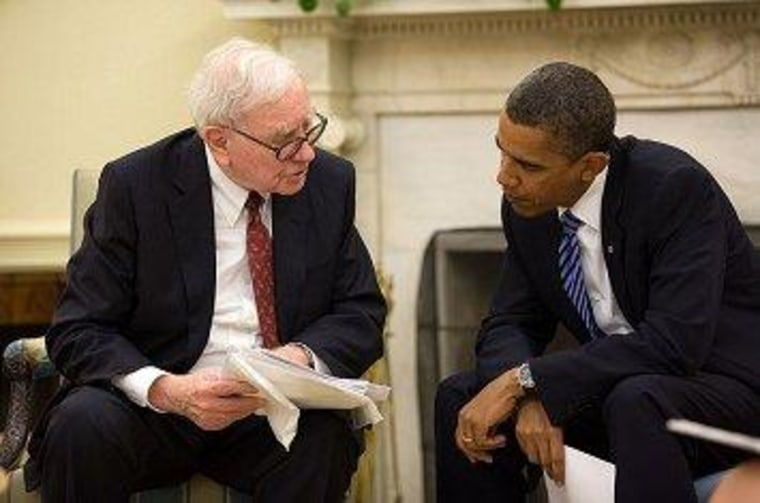 Warren Buffett and President Obama in the Oval Office.