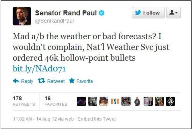 Rand Paul sees armed meteorologists as radical threat
