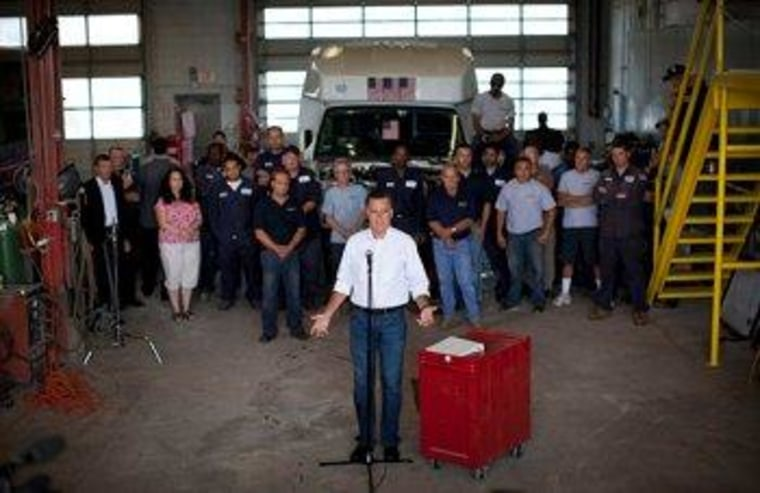 Romney stops by Middlesex Truck & Coach, which exists thanks to public aid.