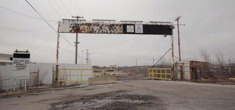 Outside a steel factory shut down by Mitt Romney's firm.