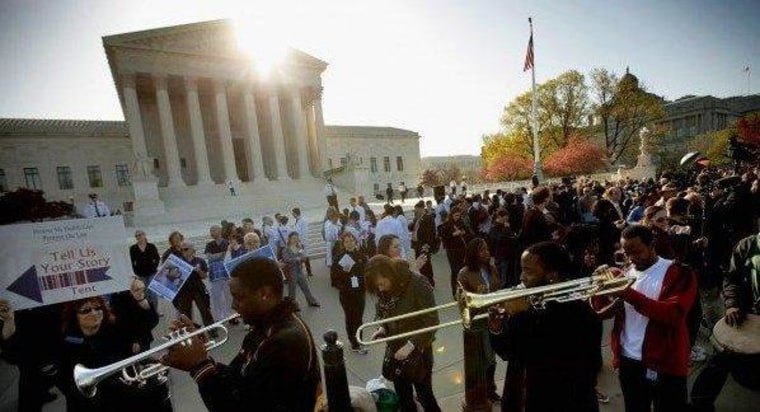 Outside the U.S. Supreme Court in March, before health care oral arguments.