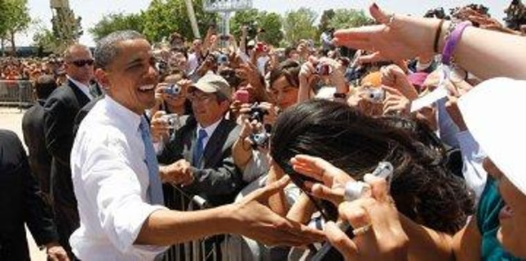 Obama greets supporters after speaking on immigration policy in El Paso last year.