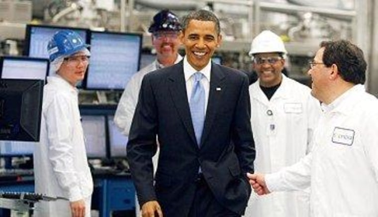 Obama with Solyndra workers in 2010.
