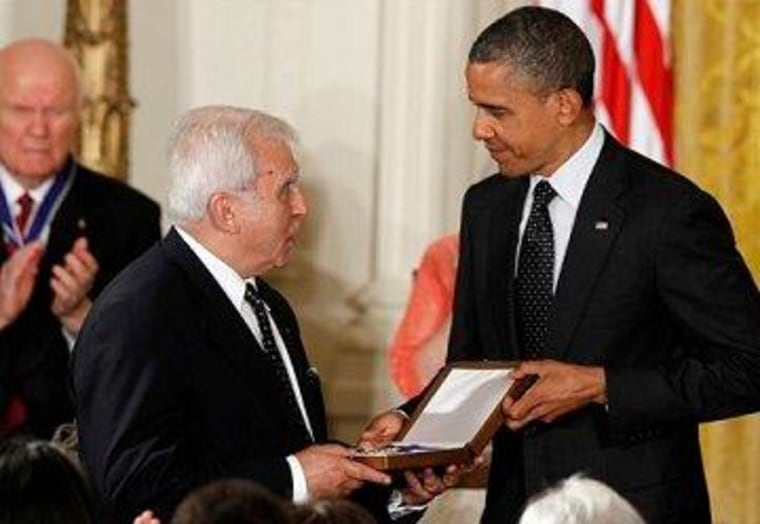 President Obama awards the Medal of Freedom to former Polish Foreign Minister Adam Daniel Rotfeld, accepting for Jan Karski.