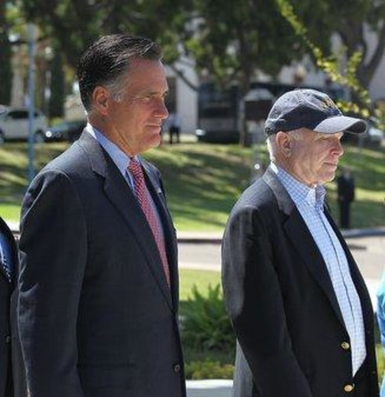 Mitt Romney and John McCain appeared in San Diego on Memorial Day
