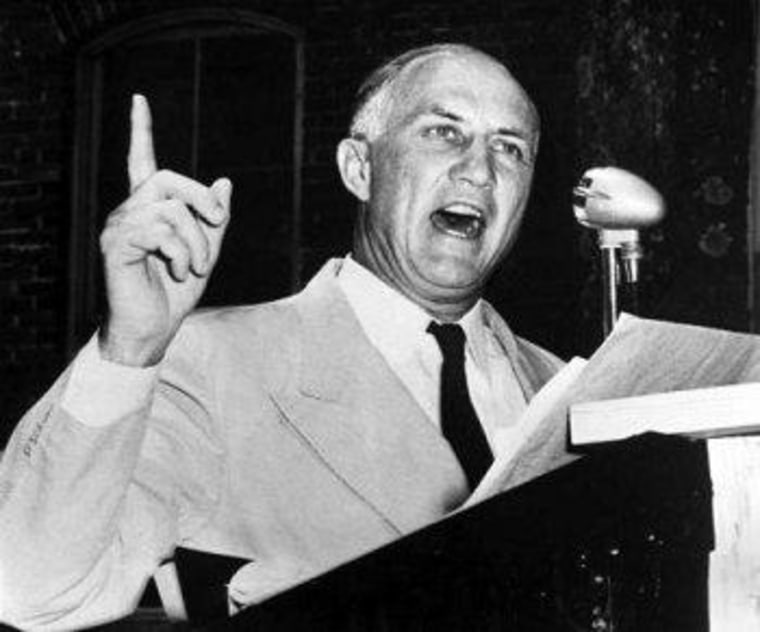Strom Thurmond, pictured here in 1957, left the Democrats when the party embraced civil rights.